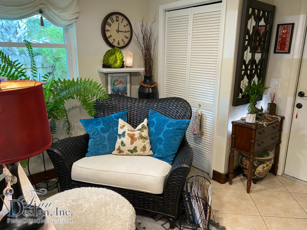 A cozy seating area gives you a chance to work from a different, comfortable position.